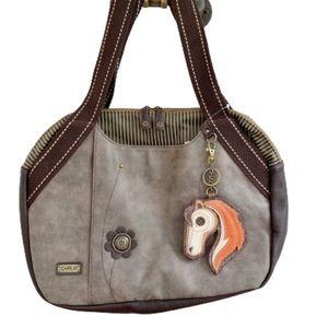Chala Horse Bowling Handbag Vegan Leather Gray
